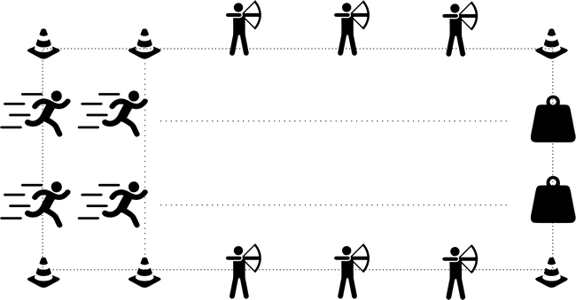 archery tag spelvariant estafette